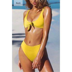 Other - Tie Knot High Waist Thong 2PCS Bikini - Yellow